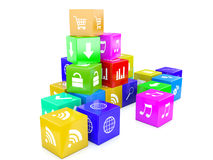 3d cubi di colore dell'illustrazione Immagini Stock Libere da Diritti
