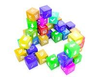 3d cubi di colore dell'illustrazione Fotografie Stock
