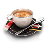 3d cup of coffee. With a spoon, a sugar sachet and a chocolate,  white background, 3d image Stock Photography