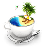 3d cup of paradise. White background, 3d image vector illustration