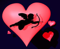3d cupid with heart Royalty Free Stock Photography