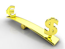 3d currencies. 3d dollar and euro symbols on a balance royalty free illustration
