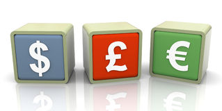 3d currencies symbols Royalty Free Stock Photos