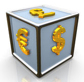 3d currencies symbols signs cube Stock Photo