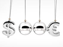 3d currency rates duel Concept  Balancing balls Stock Photography