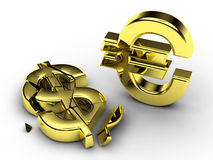 3d currency signs. 3d currency symbols , shattered dollar and standing euro Vector Illustration