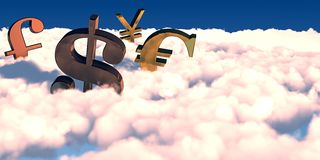 3D currency symbols Stock Photos