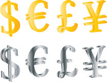 3D currency symbols. Golden and metal currency symbols, isolated on white background vector illustration