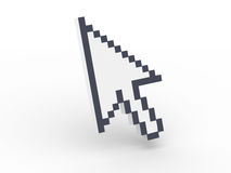 3D cursor pointing. Huge pointer arrow with shadow Royalty Free Stock Photography