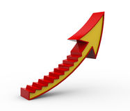 3d curved arrow stair. 3d illustration of curved upward growing stair arrow Stock Photos