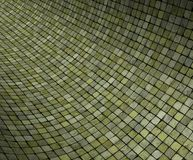 3d  curved green grunge mosaic surface Royalty Free Stock Photo
