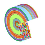 3d curved icon shapes in rainbow color stock illustration
