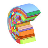 3d curved icon shapes in rainbow color Stock Photo