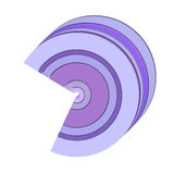 3d curved rectangular c shape icon in purple vector illustration