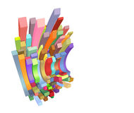 3d curved rectangular shapes in multiple color. On white Stock Photos