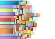 3d curved rectangular shapes in multiple color. On white Royalty Free Stock Image