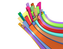 3d curved rectangular shapes in rainbow color Stock Images