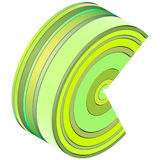 3d curved shape in green yellow Royalty Free Stock Photography