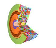 3d curved shape in rainbow color on white Royalty Free Stock Photo