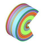 3d curved shape in rainbow color on white Royalty Free Stock Image