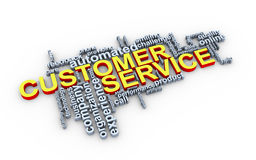 3d customer service word tags. 3d Illustration of customer service wordcloud Stock Image