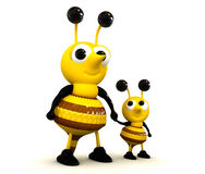 3D Cute Bee. Character isolated Royalty Free Stock Photography