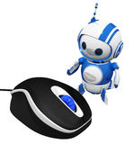 3d Cute Blue Robot with Computer Mouse stock illustration