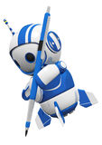 3d Cute Blue Robot With Drafting Pencil Drawing royalty free illustration