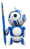 3d Cute Blue Robot Holding Drafting Pencil Royalty Free Stock Photography