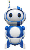 3d Cute Blue Robot standing tall ready to fly. 3d cute blue robot wit rockets and fins ready to fly, standing tall and on guard Stock Photo