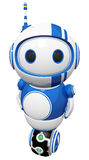 3d Cute Blue Robot with Uniwheel Stock Photography