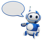 3d Cute Blue Robot With Word Bubble. 3d cute blue robot with a word bubble speaking his mind. You can decide what he will say Royalty Free Stock Image