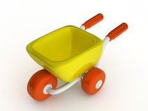 3d cute cartoon yellow shop cart. Stock Photography