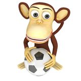 3d Cute Monkey With Soccer Ball