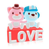3d cute pink cat and blue dog couple Royalty Free Stock Images