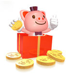 3d cute pink pig in the red box with gold coin Stock Photo