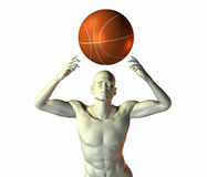 3d cyber boy with basket ball isolated on a white Stock Image