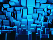 3D cyber city, conceptual and abstract urban illus. Abstract 3D blue city, cyber town Royalty Free Stock Photo