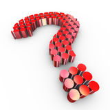 3d cylinders question mark. 3d illustration of question mark symbol made with cylinders Royalty Free Stock Photo