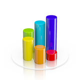 3D cylindrical bar graph. Colorful 3d cylindrical bar graph isolated on white Stock Photography