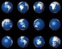 3d czarny kul ziemskich glansowany wektor Obraz Stock