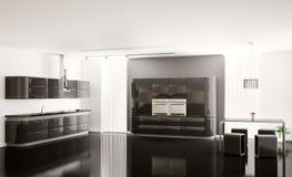 3d czarny wewnętrzny kuchenny nowożytny Fotografia Stock