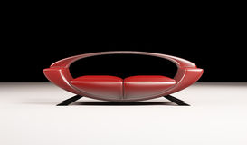 3d d'isolement par sofa rouge moderne Photographie stock libre de droits