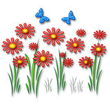 3d daisy. Colorful 3d daisy and butterflies on white background Stock Photography