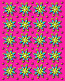 3D Daisy Dot in Hot Pink. Background image is vivid, hot pink with rows of daisies and dots in 3D.  Each flower has four different colored layers Royalty Free Stock Images