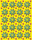 3D Daisy Dot in Yellow. Background image is bright yellow with rows of daisies and dots in 3D.  Each flower has four different colored layers Stock Image