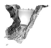 3d dam render. Detailed 3d render of a dam in the style of hoover dam stock illustration