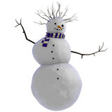 3D dancing snowman with purple and white striped scarf and twigs for afro haircut Royalty Free Stock Photo