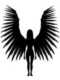 3D dark angel. An 3D rendered angel silhouette with unfolded wings on white background Stock Photo