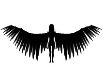 3D dark angel. An 3D rendered angel silhouette with unfolded wings on white background Stock Photos